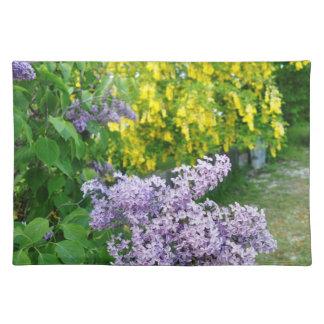 薄紫の黄色い木のランチョンマットのゴトランドの島スウェーデン ランチョンマット