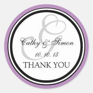 薄紫の黒いモノグラムGの結婚式は感謝していしています ラウンドシール