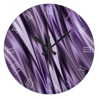 薄紫の黒の波 ラージ壁時計