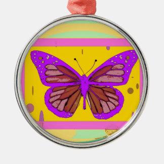 薄紫の(昆虫)オオカバマダラ、モナーク、黄色、Sharles著ティール(緑がかった色)のギフト メタルオーナメント