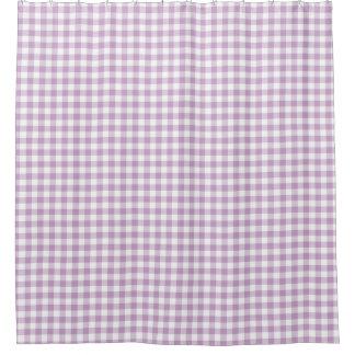 薄紫の(薄紫の)白いギンガムは正方形を点検します シャワーカーテン