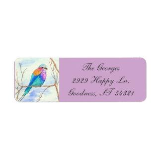 薄紫のBreastedのローラー、水彩画の芸術、かわいらしい鳥 ラベル