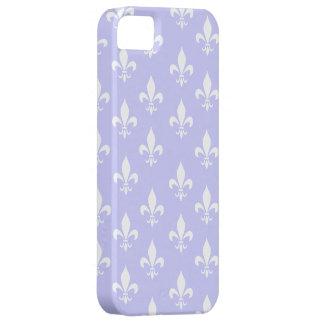 薄紫及び白い(紋章の)フラ・ダ・リパターン iPhone SE/5/5s ケース