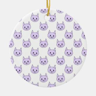 薄紫紫色猫パターン セラミックオーナメント