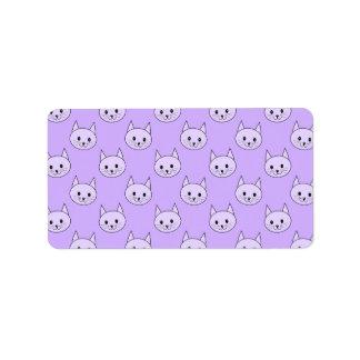 薄紫紫色猫パターン ラベル