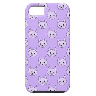 薄紫紫色猫パターン iPhone SE/5/5s ケース