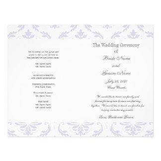 薄紫|灰色|ヴィンテージ|ダマスク織|結婚|プログラム オリジナルチラシ広告
