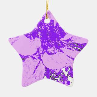 薄紫-紫色の花のダリアの花模様 セラミックオーナメント