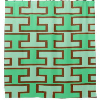 薄緑およびブラウンの煉瓦 シャワーカーテン