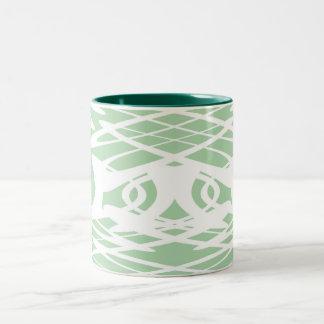 薄緑および白いのアールヌーボーパターン ツートーンマグカップ