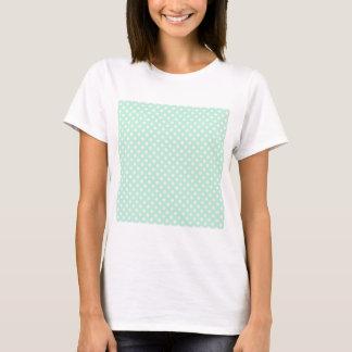 薄緑で淡いピンクの水玉模様- Tシャツ