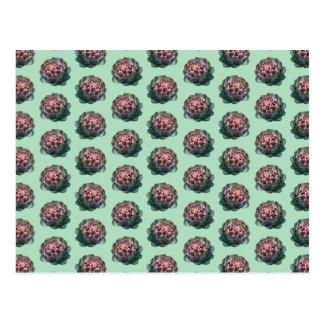 薄緑のアーティチョークパターン ポストカード