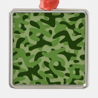 薄緑のカムフラージュパターン シルバーカラー正方形オーナメント
