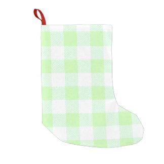 薄緑のギンガムの点検パターン スモールクリスマスストッキング