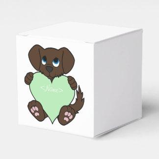 薄緑のハートのバレンタインチョコレート犬 フェイバーボックス