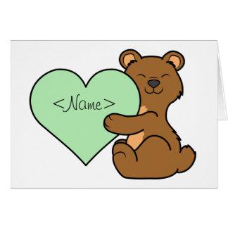 薄緑のハートのバレンタインデーのヒグマ カード