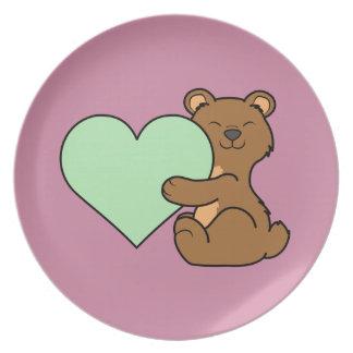 薄緑のハートのバレンタインデーのヒグマ プレート