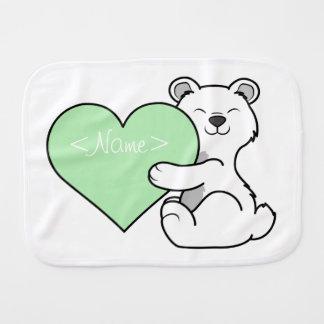 薄緑のハートのバレンタインデーの白くま バープクロス
