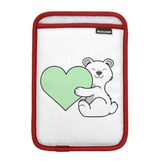 薄緑のハートのバレンタインデーの白くま iPad MINIスリーブ