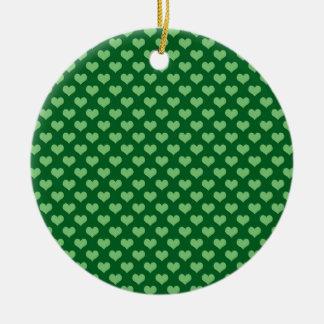 薄緑のハートパターン深緑色の背景 セラミックオーナメント