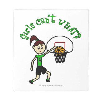 薄緑のバスケットボールの女の子 ノートパッド
