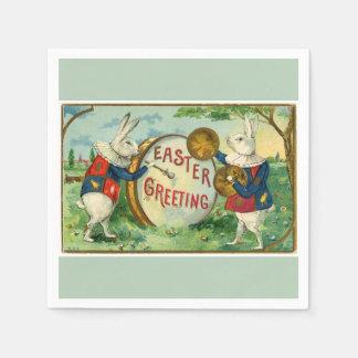 薄緑のファンシーで白いイースターのウサギ スタンダードカクテルナプキン