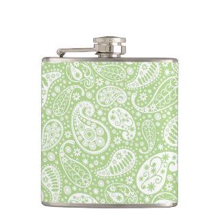 薄緑のペイズリーの花柄パターン フラスク