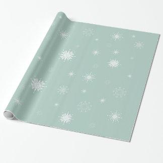 薄緑の包装紙の雪片 ラッピングペーパー