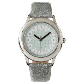 薄緑の可憐な緑の水玉模様パターン 腕時計