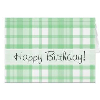 薄緑の格子縞; かわいい カード