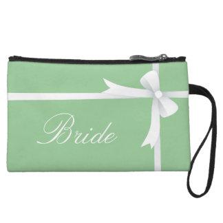 薄緑の白い弓、花嫁 クラッチ