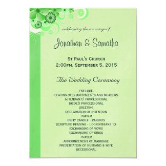 薄緑の花の平らな結婚式プログラムのテンプレート 12.7 X 17.8 インビテーションカード