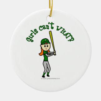薄緑の野球 セラミックオーナメント