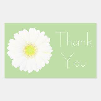 薄緑の黄色および白いデイジーは感謝していしています 長方形シール