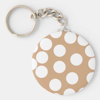 薄茶および白い点パターン キーホルダー