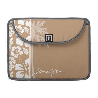 薄茶のハワイの熱帯ハイビスカス; やし MacBook PROスリーブ