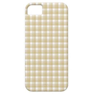 薄茶の点検パターン。 ベージュギンガム iPhone SE/5/5s ケース