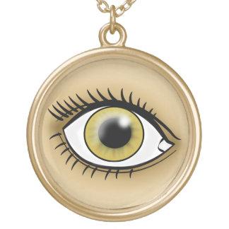 薄茶色の目アイコン ゴールドプレートネックレス