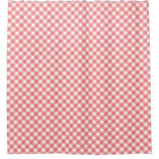 薄赤の斜めのギンガム シャワーカーテン