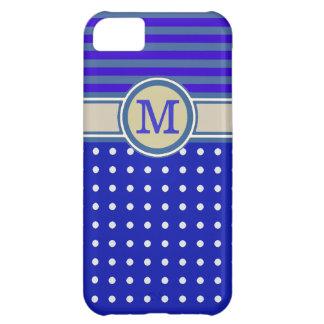 薄青いモノグラム、水玉模様は及び縞で飾ります iPhone5Cケース