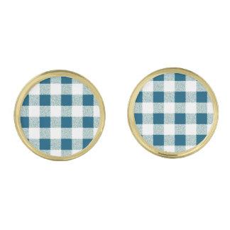 薄青い緑のギンガムの点検パターン ゴールド カフスボタン