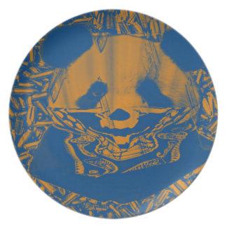 薄青く黄色いギャングのパンダ プレート