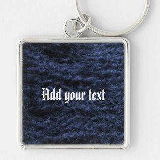 薄青く黒いかぎ針編みのkeychain キーホルダー