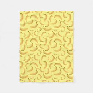 薄黄色のバナナの任意パターン フリースブランケット
