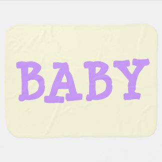 薄黄色のベビーブランケットの紫色のベビー ベビー ブランケット
