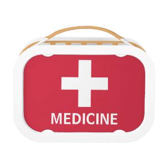 薬の救急処置の記号の赤い医学のキット ランチボックス