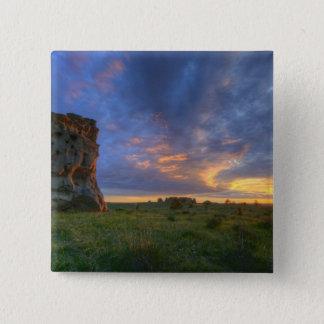 薬の石の豪華な日没の空 5.1CM 正方形バッジ
