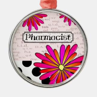 薬剤師のお洒落な花 メタルオーナメント