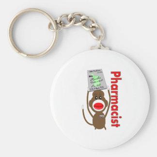 薬剤師のソックス猿のデザイン---愛らしいギフト ベーシック丸型缶キーホルダー