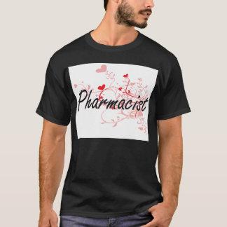 薬剤師のハートとの芸術的な仕事デザイン Tシャツ